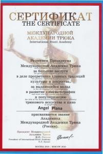 Certificado Stunt Academy Moscú